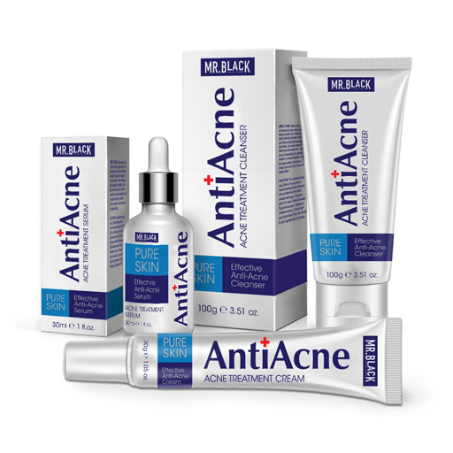 Mr Black Set  Anti Acne Cream + Anti Acne Serum + Anti Acne Cleanser